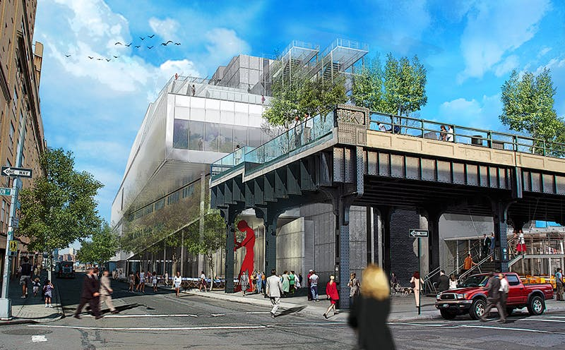 Rendering of the Whitney Museum of American Art's new building in downtown Manhattan, from the corner of Gansevoort and Washington Streets.
