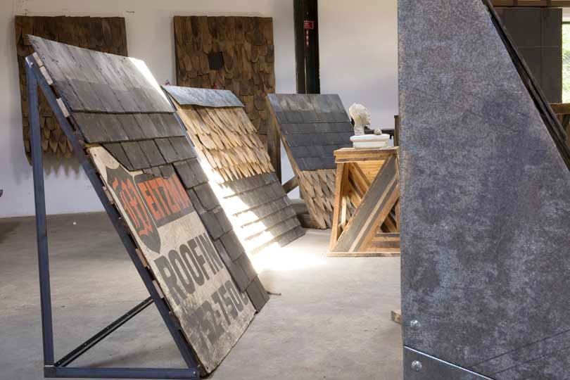 Theaster Gates' 'Roof' (set up in studio).