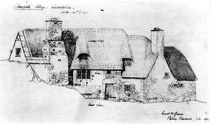 Drawing of Stoneywell, Leicestershire, by Arts and Crafts movement architect Ernest Gimson