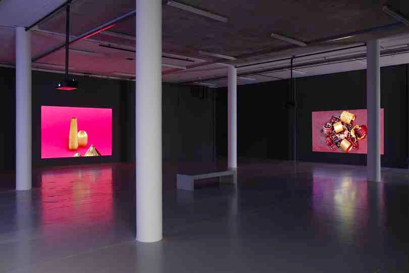 Installation view, including 'Metronomie' (2014; left) and 'Amplifications' (2014; right)