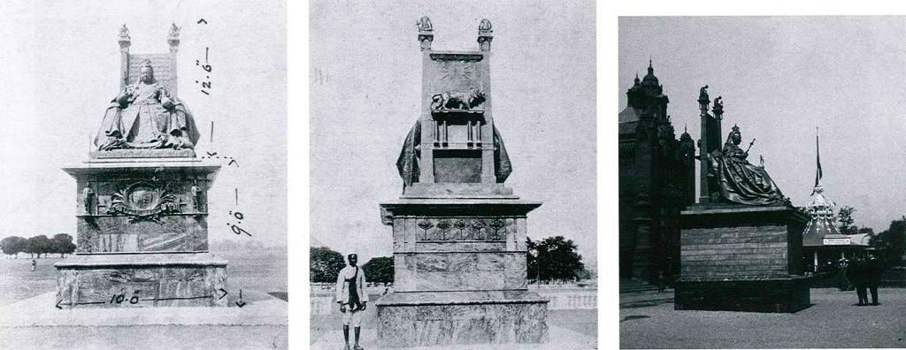 Photographs of George Frampton's (1860–1928) c. 1902 sculpture of Queen Victoria on the Maidan, Kolkata, India.