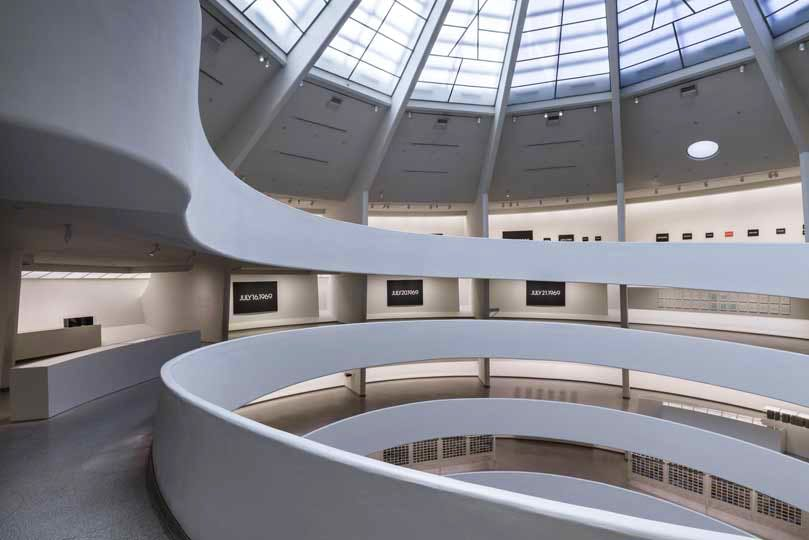 Installation view: 'On Kawara—Silence', Solomon R. Guggenheim Museum, New York, 6 February to 3 May, 2015.