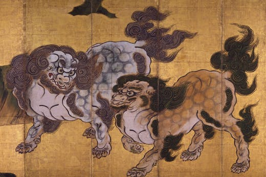Tigers in a Bamboo Grove (Tigers at Play) (detail), mid 1630s, Kano Tan'yu.