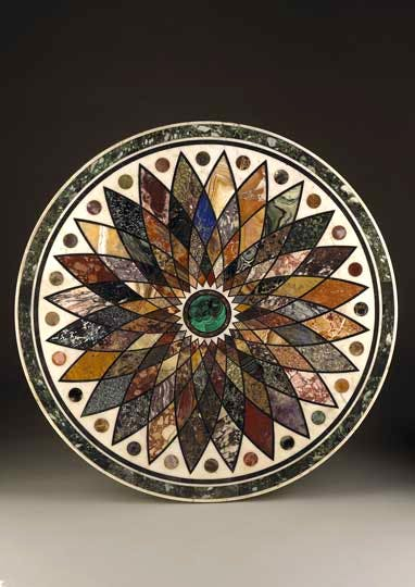 Pietra dura marble table top, supported by a bronze patinated and gilded cast iron base (1831), Giacomo Raffaelli.