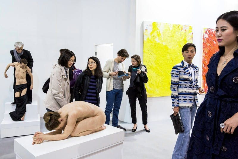 Sullivan+Strumpf's stand at Art Basel Hong Kong, including Sam Jinks's 'Untitled (Standing Pietà)' (left; 2014)