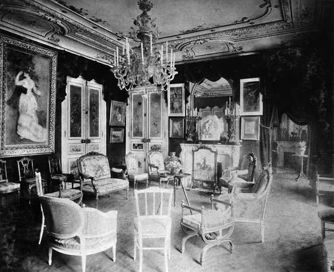 The grand salon at Rue de Rome with 'Dance in the City' by Renoir
