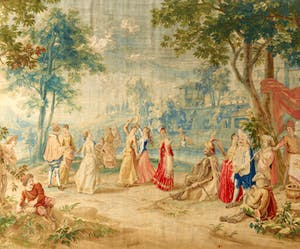 Arrival of the Shepherdesses at the Wedding of Camacho 1730–45 Workshop of Peter van den Hecke (1680–1752) after Philippe de Hondt (1683–1741) Wool and silk, 13x555.2cm The Frick Collection, New York Photo: Michael Bodycomb