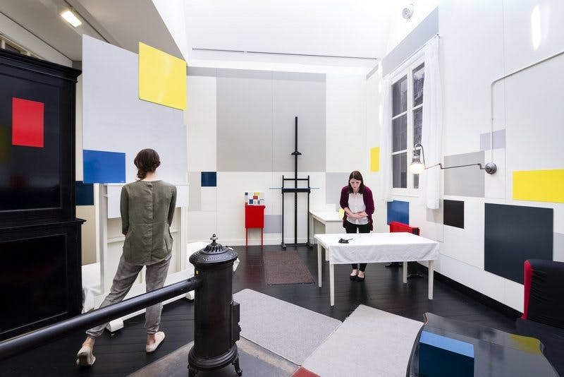 Installation view showing the recreation of Piet Mondrian's (1872–1944) Paris studio at Tate Liverpool, 2014.
