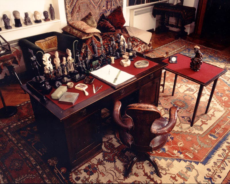 Sigmund Freud's (1856–1939) study at his Hampstead home, including some of his collection of over 3,000 ancient artefacts.