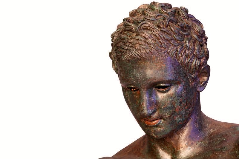 (detail of head; Hellenistic or Roman replica after a bronze original from the second quarter or the end of the 4th century BC)