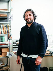Kader Attia (b. 1970) photographed in his studio in Berlin, March 2015.