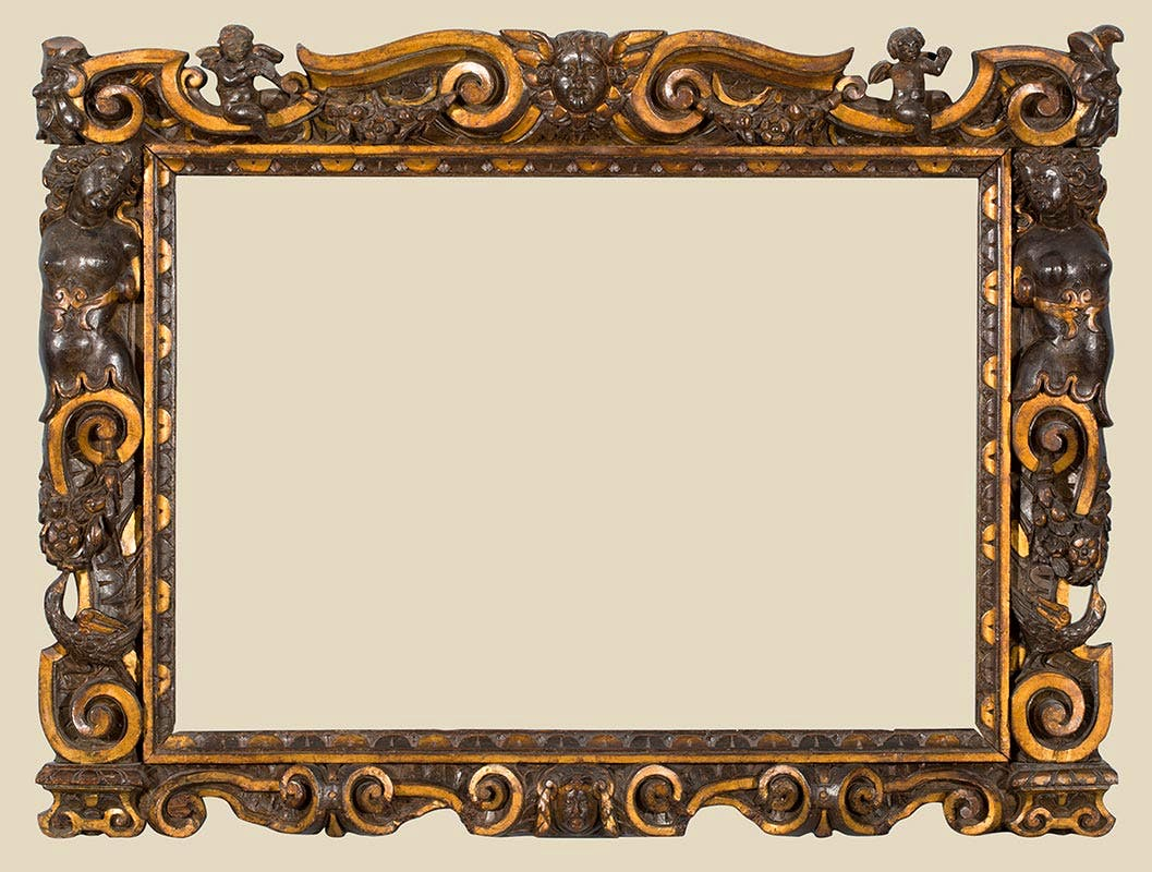 A carved and partially gilded Sansovino frame (1560–80)