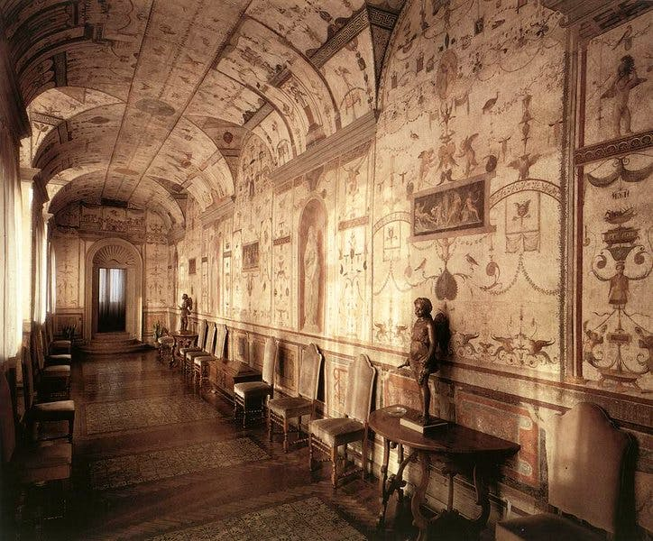The 'Loggetta' of Cardinal Bibbiena in the Papal Palace of the Vatican City, which includes fresco decoration by Giovanni da Udine under Raphael's direction (c. 1516–17)