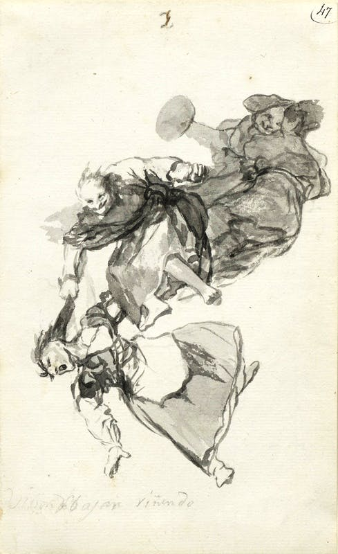 from the 'Witches and Old Women' Album (D), page 1 (c. 1819–23), Francisco de Goya.