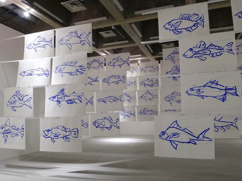Installation shot of 'They Come to Us Without a Word' by Joan Jonas, at the CCA Kitakyushu, Japan in 2013.