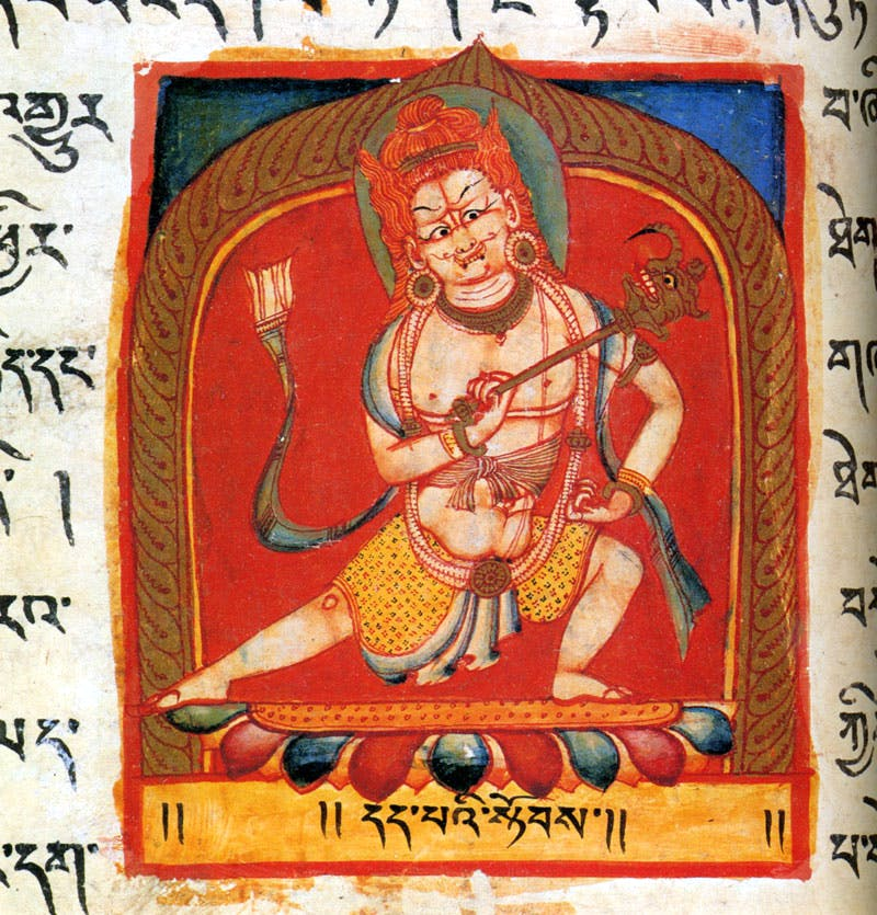 Folio from the 'Perfection of Wisdom' manuscript, depicting Gate-keeper of the eastern direction Vajrankusha (11th century),Tholing Monastery, Western Tibet. Los Angeles County Museum of Art