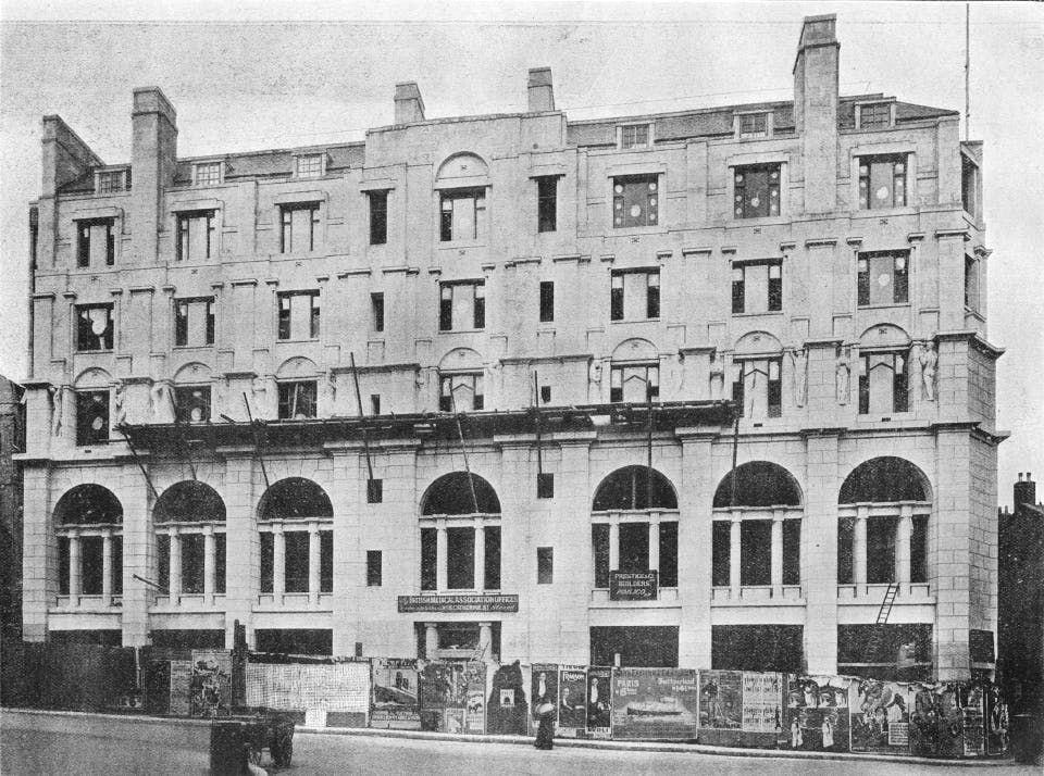 The British Medical Association building (now Zimbabwe House), The Strand, London, by Charles Holden with sculptures by Jacob Epstein (later destroyed). Agar Street elevation, under construction.