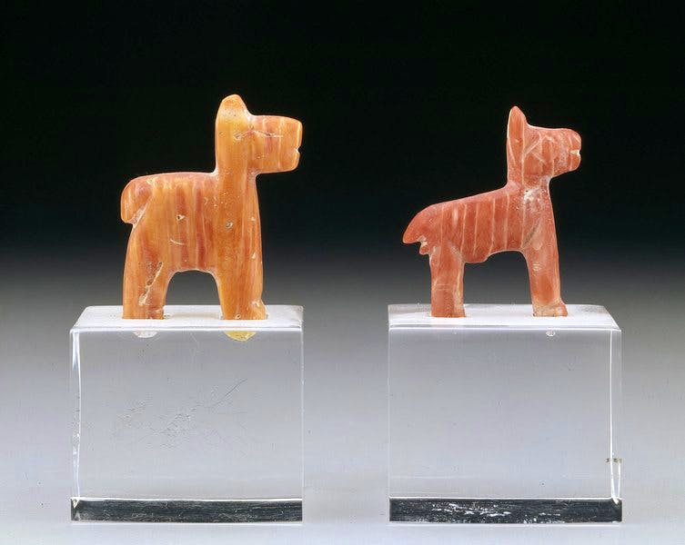Miniature figurines of camelids (Chimú culture; AD 1400–1550), Peru, Andean coast. 3.33 x 2.54 x 0.8 cm