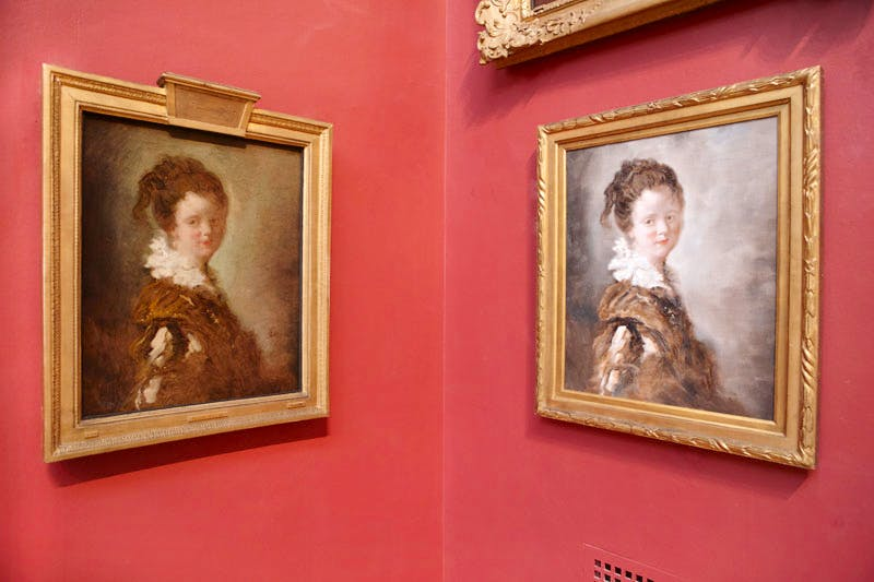 Fragonard's 'Young Woman' (left) hangs alongside a contemporary Chinese replica