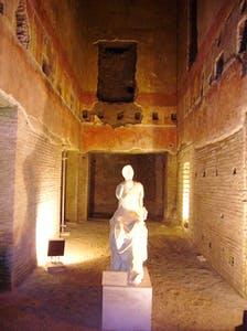 Statue of a muse in the newly reopened Domus Aurea, Rome.
