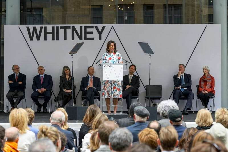 Michelle Obama at the Whitney opening ceremony.
