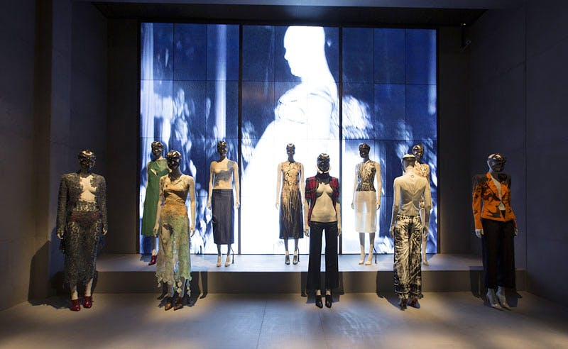 Installation view of 'London' gallery, 'Alexander McQueen Savage Beauty' at the V&A. Credit: Victoria and Albert Museum