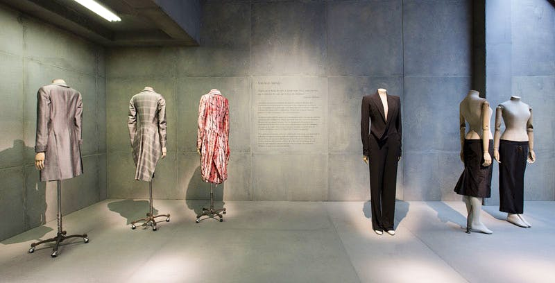 Installation view of 'Savage Mind' gallery, 'Alexander McQueen Savage Beauty' at the V&A. Credit: Victoria and Albert Museum