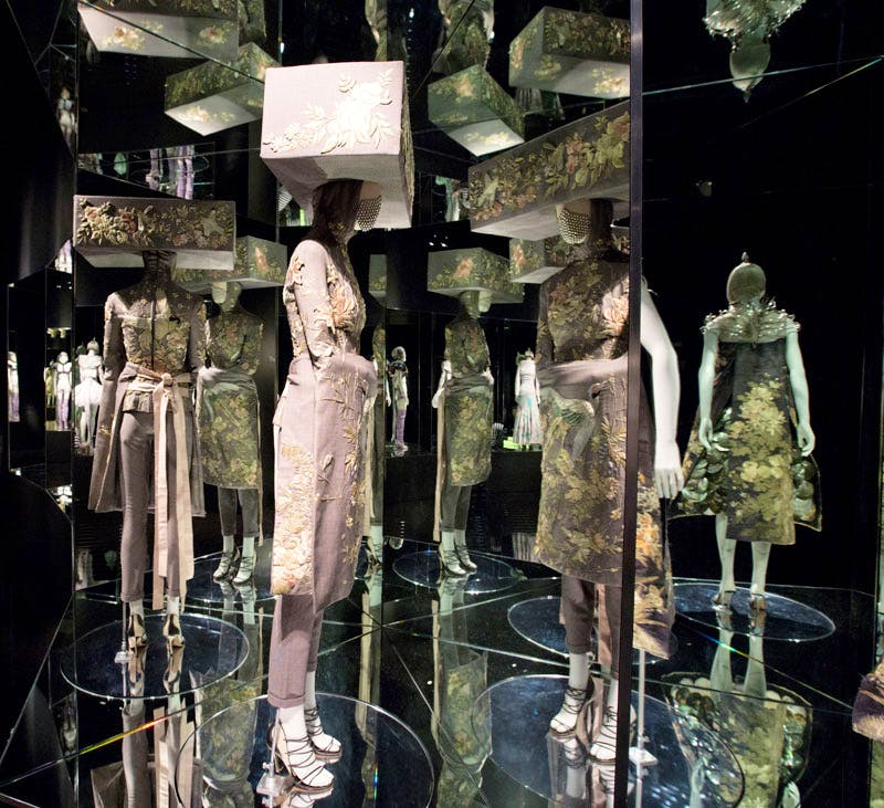 Installation view of 'Romantic Exoticism' gallery, 'Alexander McQueen Savage Beauty' at the V&A. Credit: Victoria and Albert Museum