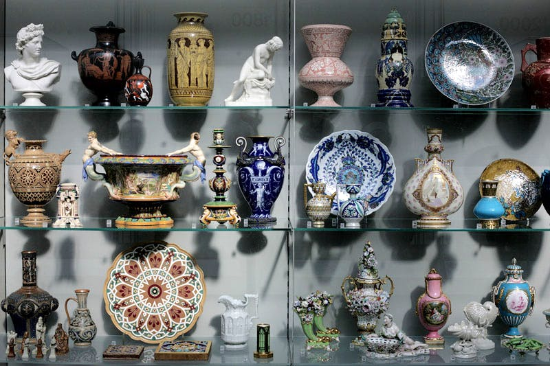 Cabinet in the ceramics galleries at the V&A, London