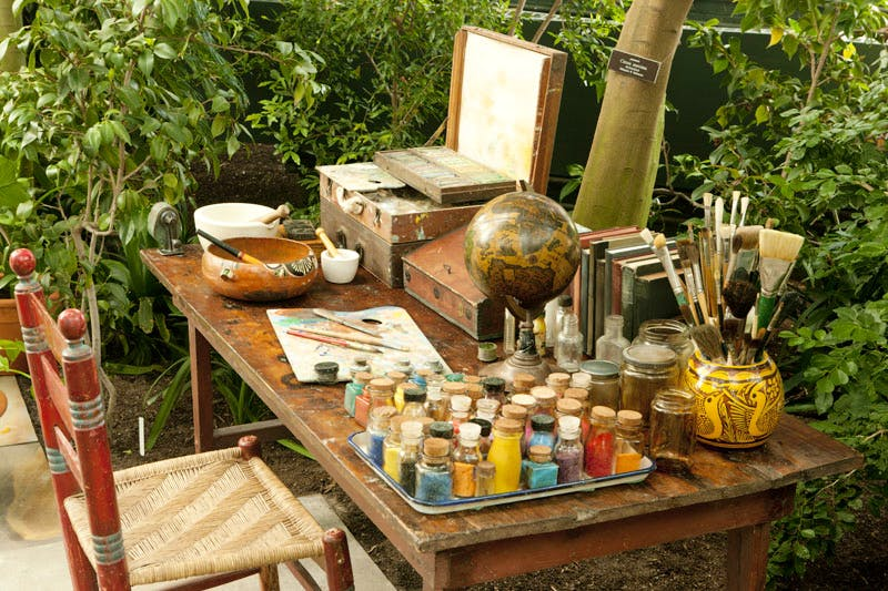 An evocation of Frida Kahlo's studio overlooking her garden.