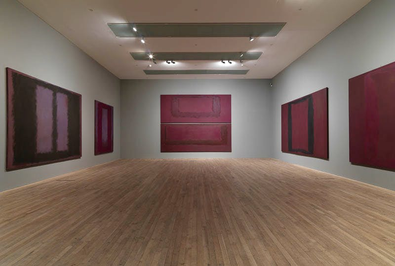 Installation view of the Rothko Room at Tate Modern, London