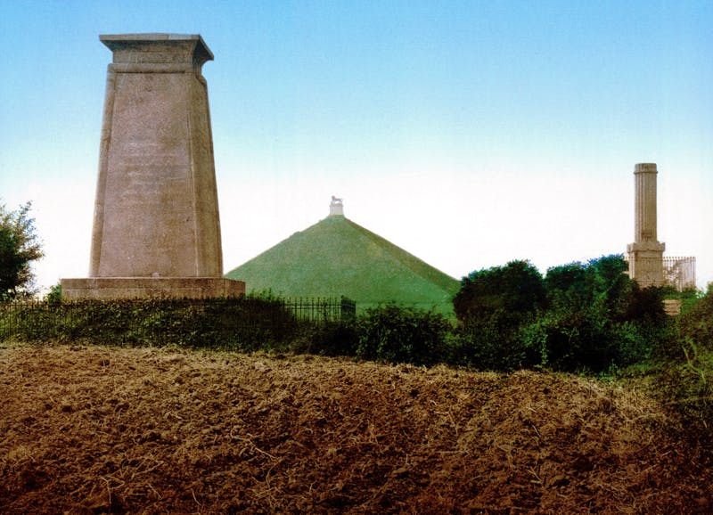 'Les trois monuments' at Waterloo, with the Butte du Lion in the centre, in a Photochrom print of c. (1890–1905).