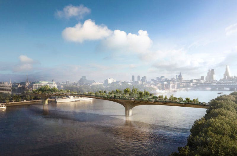 A digital rendering showing Thomas Heatherwick's proposed Garden Bridge across the Thames from the South Bank.