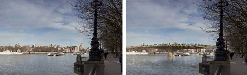 The Garden Bridge from the planning application documents, showing effect upon view from South Bank towards an obstructed St. Paul's cathedral.