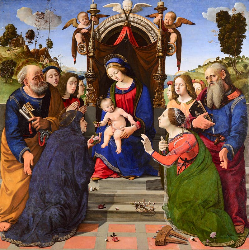 (completed by 1493), Piero di Cosimo, oil and tempera on panel, 203 x 197cm.