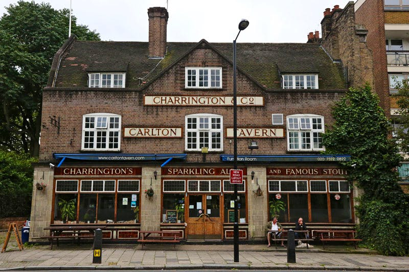 The Carlton Tavern in Maida Vale, London, built in 1920-21 and illegally demolished by developers in April 2015.