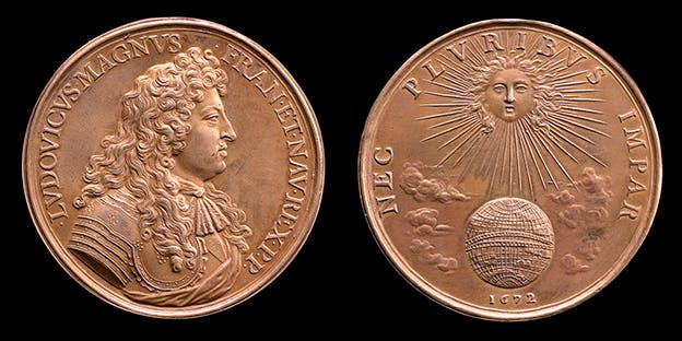 Gold medal made by Jean Warin, 1672; Obverse: portrait of Louis XIV facing right; reverse: Louis XIV as the sun warming the earth