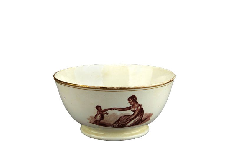 Bowl decorated with 'First Steps' (c. 1815), New Hall.