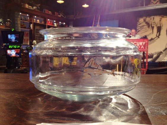 Orson Welles' fishbowl after its wash.