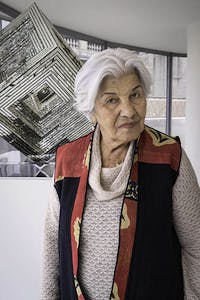 Monir Shahroudy Farmanfarmaian photographed at 'Infinite Possibility. Mirror Works and Drawings 1974–2014' (13 March–3 June 2015), at the Solomon R. Guggenheim Museum, New York.