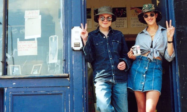 Sarah Lucas and Tracey Emin outside their shop on London's Brick Lane in 1993.