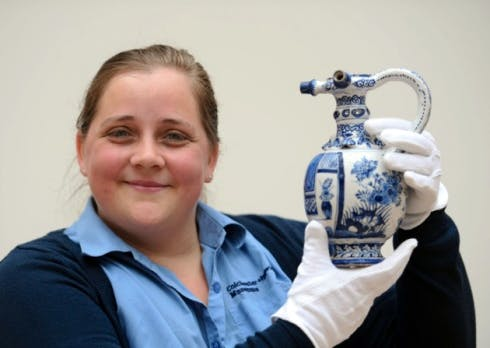 Carrie Willis is pictured at Ipswich Art School with the jug