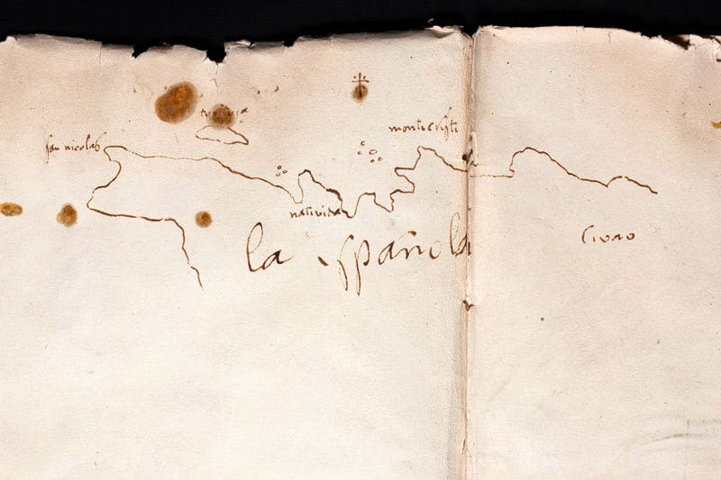 Christopher Columbus' Logbook documenting the journey of discovery of the New World. Map of La Español.