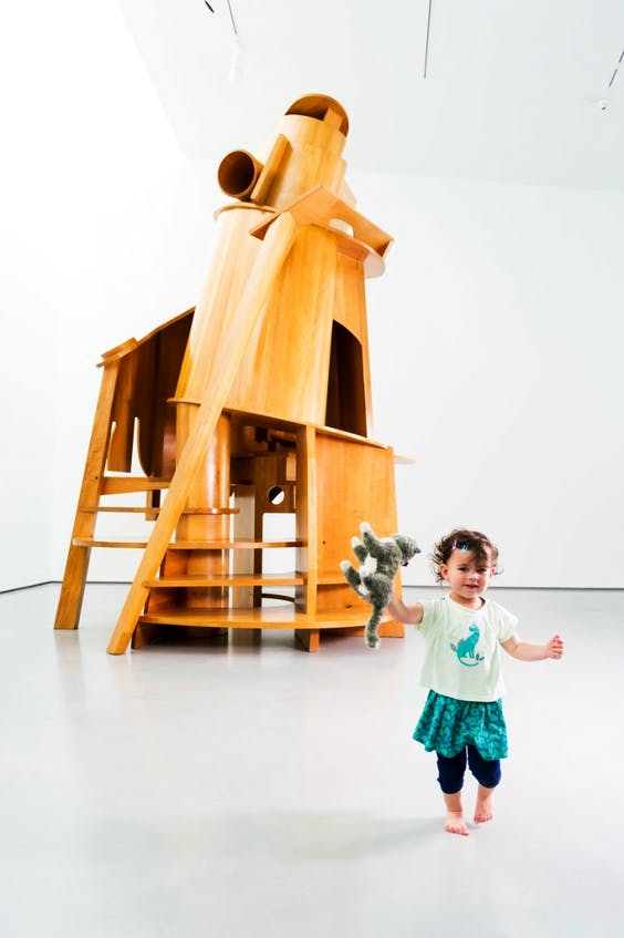 Maisie Angove (2) with Antony Caro's 'Child's Tower' at The Hepworth Wakefield.