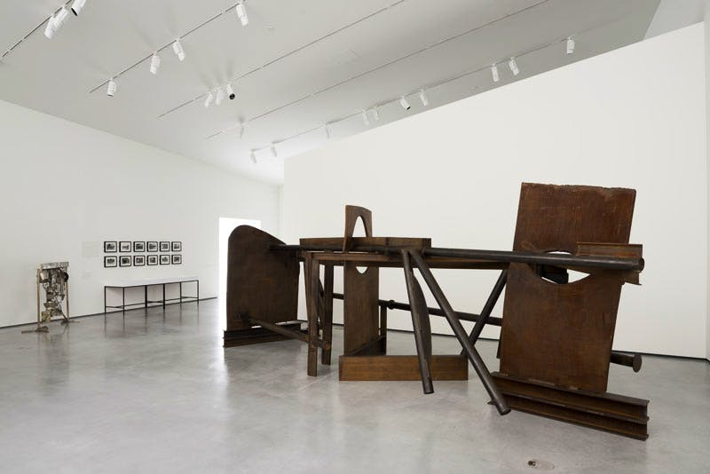 Installation view of Caro in Yorkshire, featuring Anthony Caro, 'Morning Shadows' (2012) in foreground