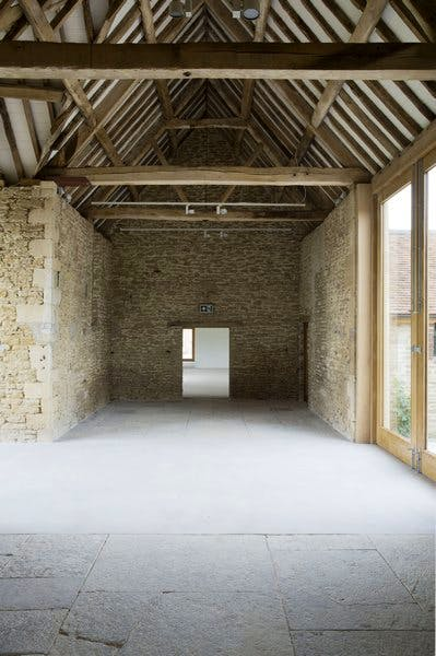 The Threshing Barn, Durslade Farm, June 2014: the site of Susan Philipsz's sound installation 'As Many As Will' for Hauser & Wirth