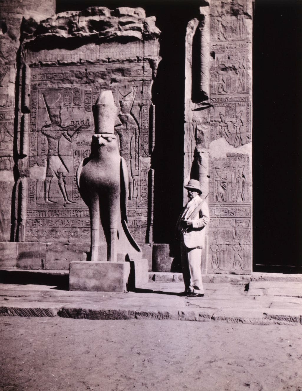 John Pierpont Morgan at the Temple of Horus at Edfu, Egypt, 1913 or earlier