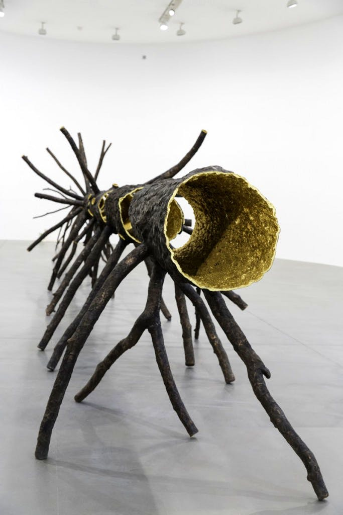 (2008), Giuseppe Penone, bronze and gold, eight elements. Installation view at Gagosian Gallery, Rome 2015.