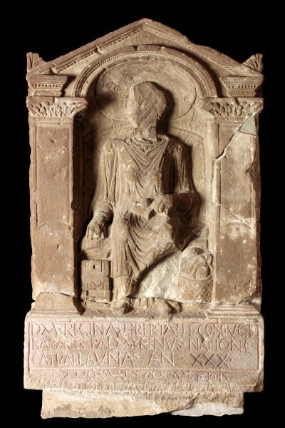 Tombstone of Regina. Roman, Arbeia Roman Fort, South Shields, Tyne and Wear, England, UK.