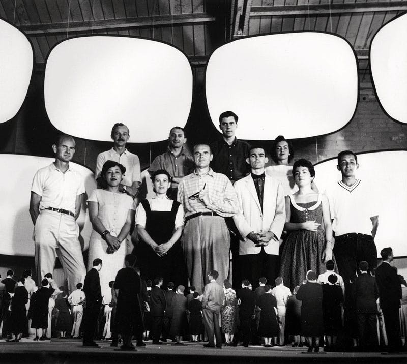 Office staff with model for Glimpses of the U.S.A, Moscow (1959)
